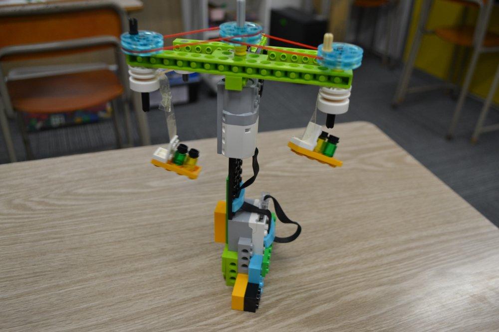 ふじみ野ロボット教室でロボットを使った滑車のお勉強をしました!