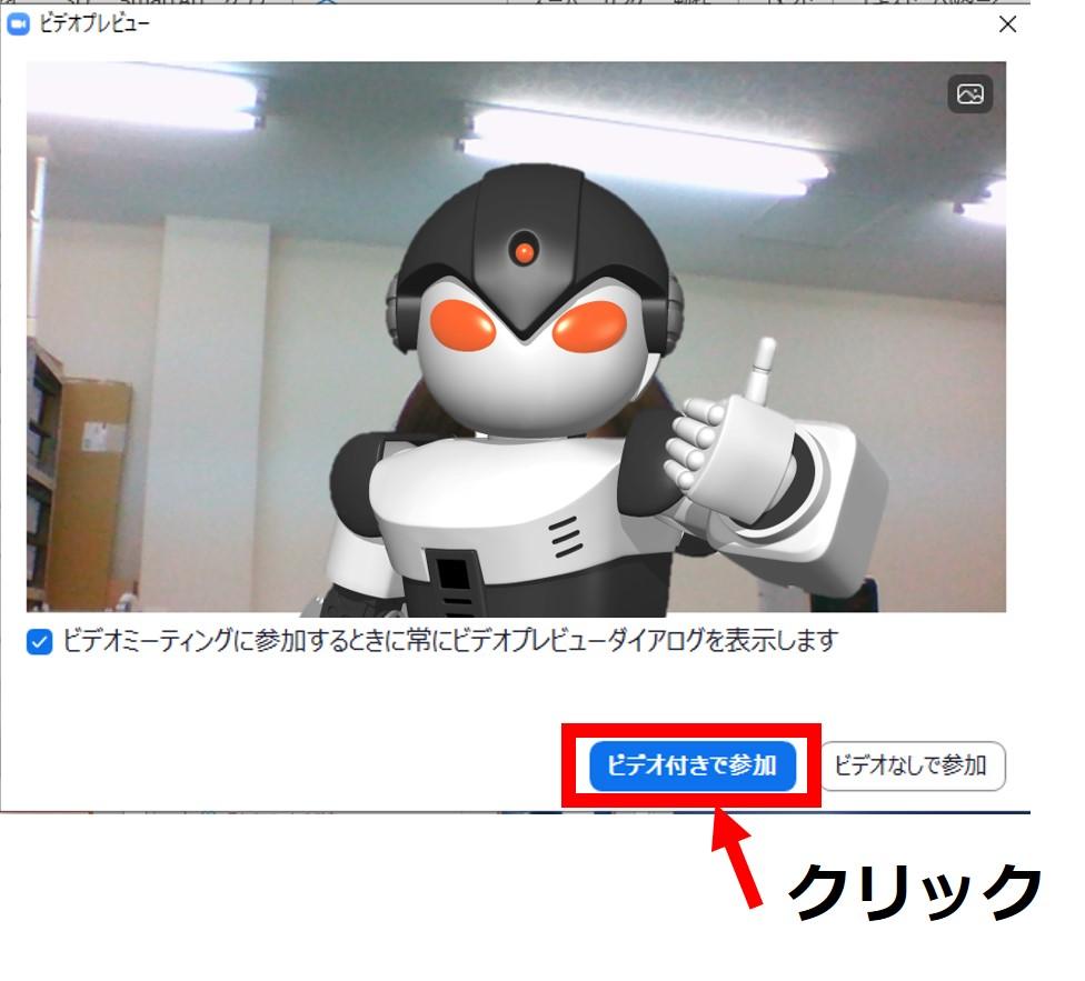zoom ビデオ プレビュー ダイアログ