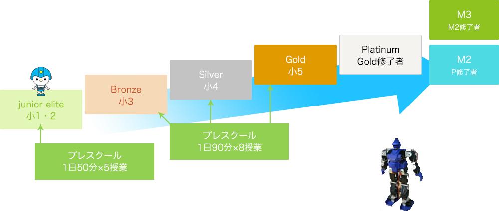 junior elite 小1・2 Bronze 小3 Silver 小4 Gold 小5 Platinum Gold修了者 M3 M2修了者 M2 P修了者 プレスクール 1日50分×5授業 プレスクール 1日90分×8授業